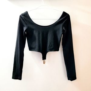 Women's UNIF Slater Crop Black Long Sleeve Top